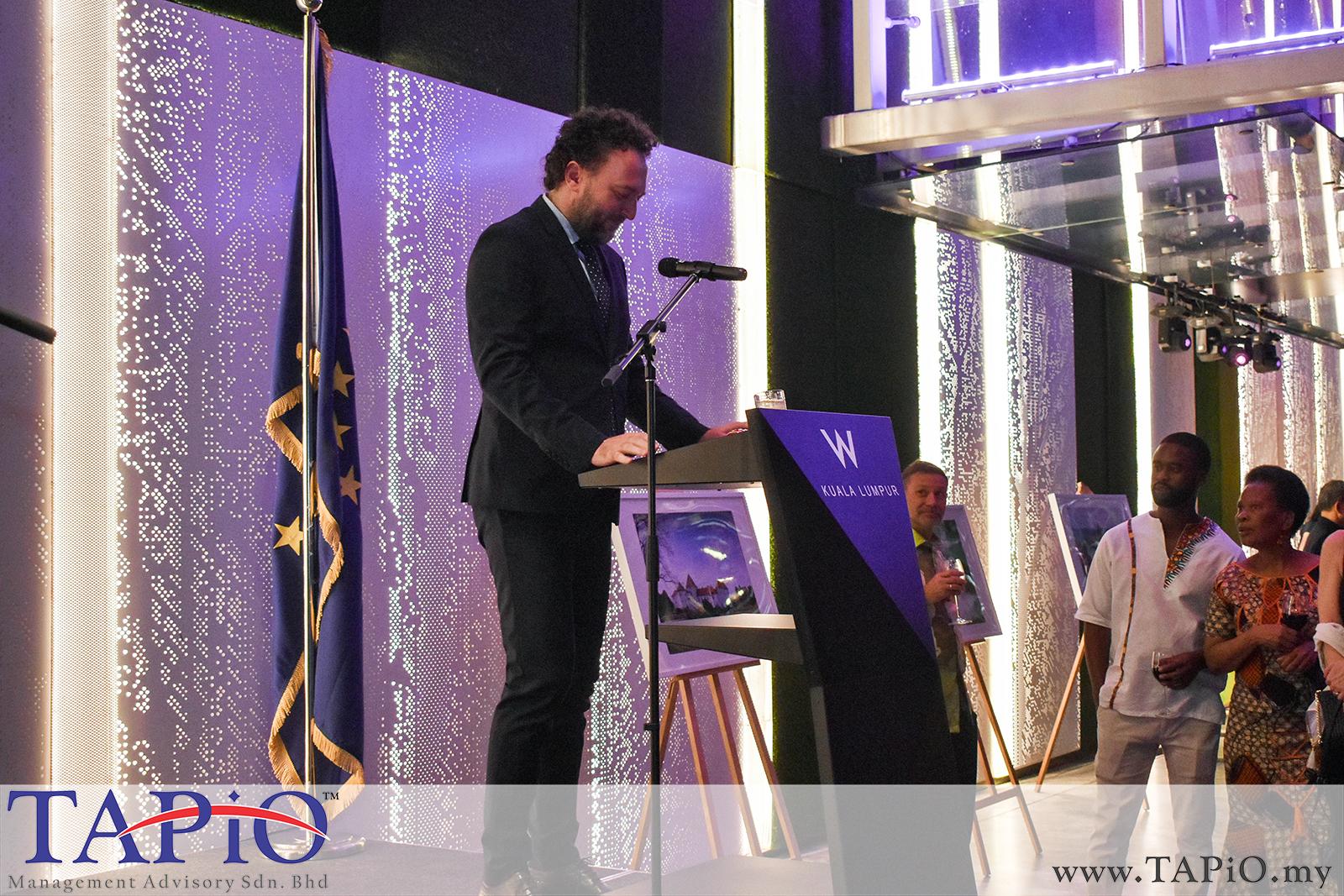 Ambassador of Croatia to Malaysia H.E. Kreso Glavac giving a speech.