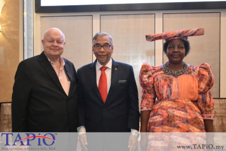 Chairman of TAPiO Management Advisory Mr. Bernhard Schutte with Datuk Wira Dr. Mohd Hatta bin Md. Ramli and the Ambassador of Namibia to Malaysia H.E. Anne Namakau Mutelo.