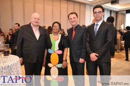 from left to the right: Chairman of TAPiO Management Advisory Mr. Bernhard Schutte, Ms. Gaone Masire from African Union, Managing Partner of TAPiO Management Advisory Mr. Thomas Bernthaler, Mr. Oussama Boudmarh