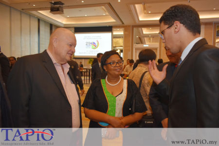 from left to the right: Chairman of TAPiO Management Advisory Mr. Bernhard Schutte, Ms. Gaone Masire from African Union, Mr. Oussama Boudmarh