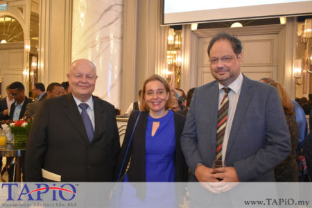 from left to the right: Chairman of TAPiO Management Advisory Mr. Bernhard Schutte, Ambassador of Netherlands H.E. Karin Marike Mossenlechner, Mr. Patrick Henry Anthonio