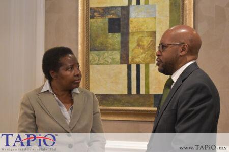 from left to the right: Ambassador of Namibia H.E Anne Namakau Mutelo, High Commisioner of Zambia Embassy H.E Walubita Imakando