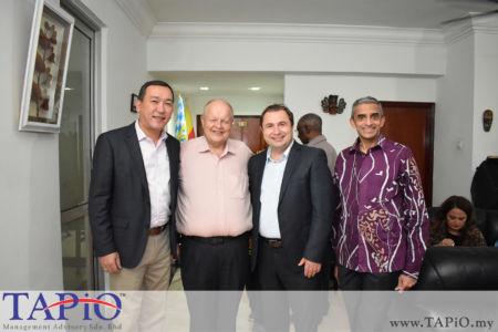 from left to the right: Ambassador of Kazakhstan H.E. Daniyar Sarekenov, Chairman of TAPiO Management Advisory Mr. Bernhard Schutte, Ambassador of Austria H.E. Dr. Michael Postl, Ambassador of Singapore H.E. Vanu Gopala Menon