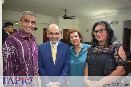from left to the right: Ambassador of Singapore H.E. Vanu Gopala Menon, Ambassador of Italy H.E. Cristiano Maggipinto, -, Ms. Jayanthi Menon