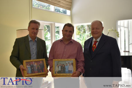 from left to the right: Commercial Counsellor of Austria Mr. Werner SOMWEBER, Ambassador of Austria H.E. Dr. Michael Postl, Chairman of TAPiO Management Advisory Mr. Bernhard Schutte