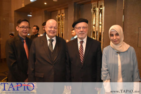 from left to the right: General Manager of HappyWater Mr. Heng Siang Tan, Chairman of TAPiO Management Advisory Mr. Bernhard Schutte, Prof. Dr. Yusuf Ziya Kavakçı, PA to the Ambassador Ms Ayşe Uzundemir