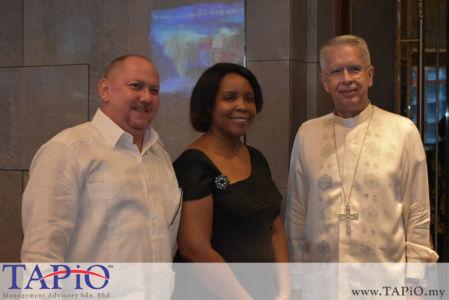 from left to the right: Ambassador of Cuba H.E Ibete Fernandez Hernandez, Diplomatic Attache of Austria Mr. Jose Luis Camero Hernandez, Rev. Joseph Salvador Marino