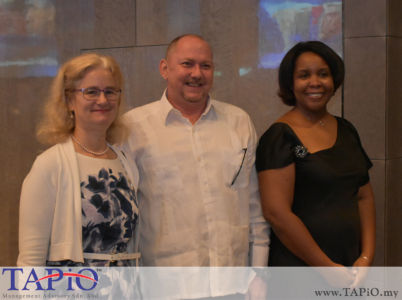 from left to the right: High Commissioner of Canada H.E. Julia Greenwood Bently, Diplomatic Attache of Austria Mr. Jose Luis Camero Hernandez, Ambassador of Cuba H.E Ibete Fernandez Hernandez