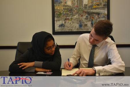 from left to the right: Ms. Yusrah, Mr. Maxime Vandenabeele
