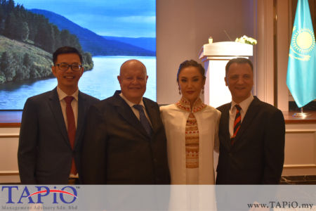 from left to the right: Director at AZ Scientific Dentistry PLT Billy Choong Bing Lian, Chairman of TAPiO Management Advisory Mr. Bernhard Schutte, Madam Aiganym Bektore; Managing Partner of TAPiO Management Advisory Mr. Thomas Bernthaler