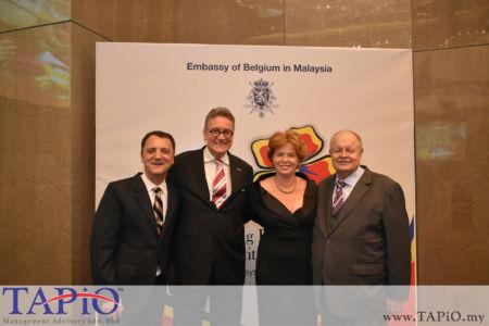 from left to the right: Managing Partner of TAPiO Management Advisory Mr. Thomas Bernthaler, Ambassador of Belgium H.E. Pascal Grégoire, Mrs. Maria Grégoire, Chairman of TAPiO Management Advisory Mr. Bernhard Schutte