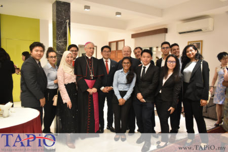 TAPiO team posing for a picture with the Ambassador of Holy See to Malaysia H.E. Joseph Marino