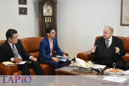 from left to the right: Third Secretary of the Embassy of Republic of Kazakhstan Mr. Birzhan Dulatbekov, Mr. Oussama Boudmarh, Chairman of TAPiO Management Advisory Mr. Bernhard Schutte