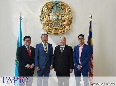 from left to the right: Mr. Nur Redzlan Nur Jazlan, Ambassador of the Republic of Kazakhstan to Malaysia H.E. Daniyar Sarekenov, Chairman of TAPiO Management Advisory Mr. Bernhard Schutte, Mr. Oussama Boudmarh