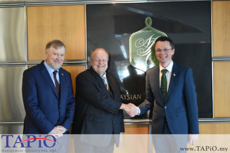 from left to the right: Ambassador of Ireland H.E. Eamon Hickey; Chairman of TAPiO Management Advisory Mr. Bernhard Schutte; Minister of State for Finance, Public Expenditure & Reform Mr. Patrick O'Donovan TD