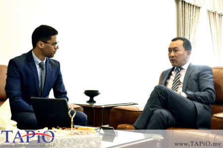 from left to the right: Mr. Oussama Boudmarh, Ambassador of the Republic of Kazakhstan H.E. Daniyar Sarekenov