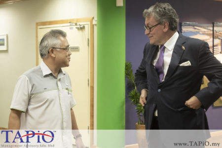 from left to the right: Assistant General Manager of Corporate Department Mr. Tan Chin Kiat; Ambassador of Belgium to Malaysia H.E. Pascal H. Grégoire
