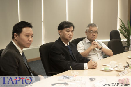 from left to the right: Chief Executive Officer Dato' Ong Chong Yi; Chairman of PKFZ Mr. Chan Leng Wai, Assistant General Manager of Corporate Department Mr. Tan Chin Kiat