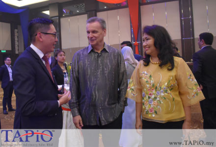 from left to the right: General Manager of HappyWater Mr. Heng Siang Tan, Commercial Counsellor of Austria Mr. Werner SOMWEBER, Mrs. Aimee Imelda SOMWEBER