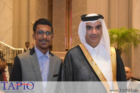 from left to the right: Mr. Sajjaad, Ambassador of Qatar H.E. Fahad Mohd Kafoud