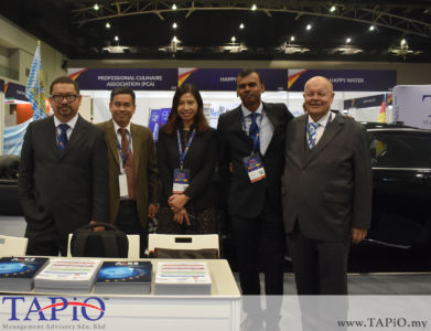 from left to the right: Manager Investor Management Division Mr. Saifol Bahari Mohd Shamlan, Investor Management ECERDC Mr. Mohd Imran Abdul Latiff, Senior Manager Business Development Corporate Strategic Planning Division ECERDC Ms. Nurliza Ahmed, General Manager - Business Development at ECERDC Dato' Ragu Sampasivam, Chairman of TAPiO Management Advisory Mr. Bernhard Schutte