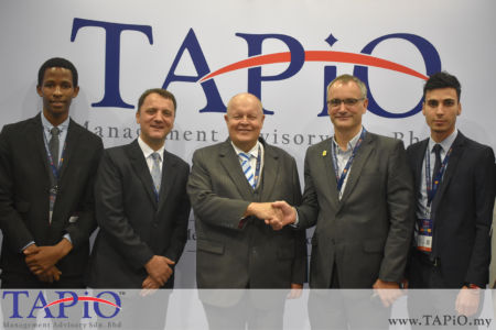 from left to the right: Mr. Arlington Shoko, Managing Partner of TAPiO Management Advisory Mr. Thomas Bernthaler, Chairman of TAPiO Management Advisory Mr. Bernhard Schutte, Investment and Trade Commissioner chez Flanders Investment & Trade Mr. Luc Fabry, Mr. Mehmet Akalin