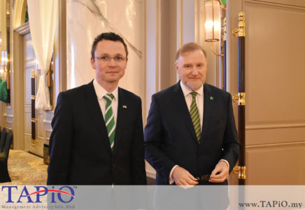Minister of State for Finance, Public Expenditure & Reform Mr. Patrick O'Donovan TD with the Ambassador of Ireland H.E. Eamon Hickey