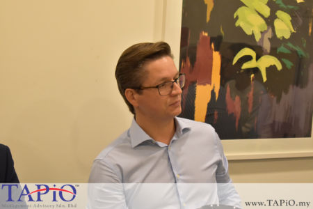 Project Manager of Business Sweden Mr. Kacper Pierzynowski at the Swedish Embassy Project Meeting.