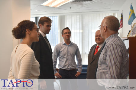 From left to Right: Country Manager Malaysia of Business Sweden Ms. Sara Hedin; Mr. Maxime Vandenabeele; Project Manager of Business Sweden Mr. Kacper Pierzynowski; Chairman of TAPiO Management Advisory Mr. Bernhard Schutte; Ambassador of Sweden to Malaysia H.E. Dag Juhlin-Dannfelt